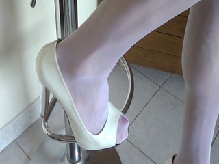 high heels and white tights