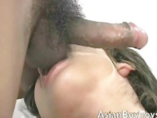 hung asian gay stud got his curly gazoo licked