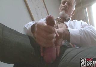 hawt bisexual grandad beating his meat at the