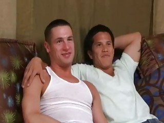 fine looking homo man got pumped on the sofa