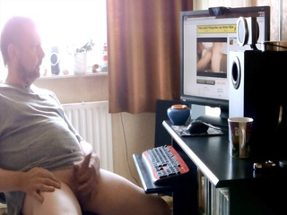 dad watching a porn