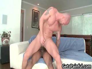 pierced sack acquires hard black homo porno