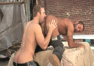 unshaved construction workers