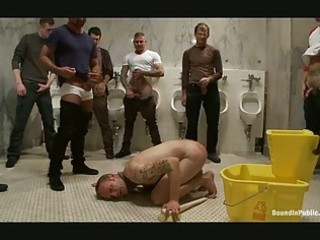 tattooed gay hunk got bondaged in the public