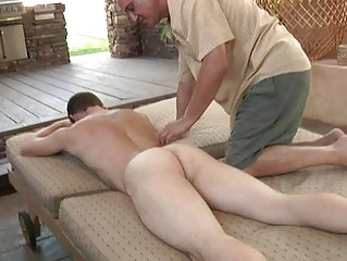 pale muscled gay gets blowjob and massage from