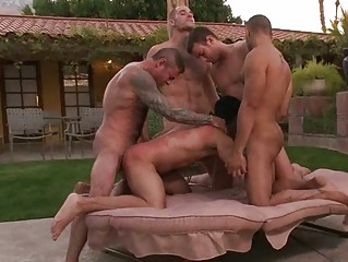 cute gay hunk got bondaged and drilled in public