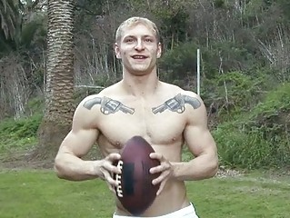 strong tattooed golden-haired homosexual hunk