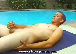 young lad jerking outdoors