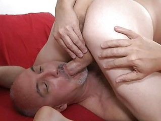 muscled homo and his aged dad licking balls in 67