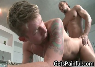 nasty golden-haired homosexual lad sucks large