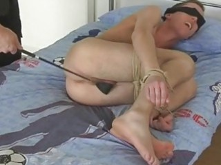 golden-haired homosexual dude gets blindfolded