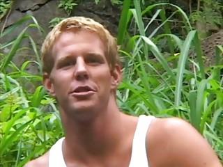 vehement blonde homo lad jerks off his fat meat
