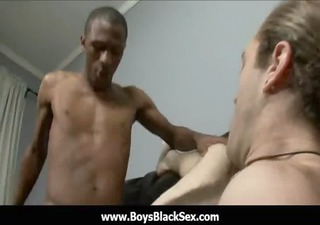 darksome gay boys fuck white youthful studs