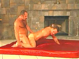 moustache and unshaved daddy copulates muscle guy