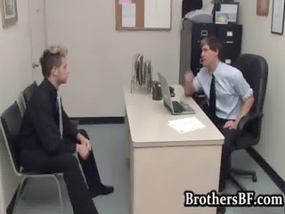 brad fucking and stroking in the office