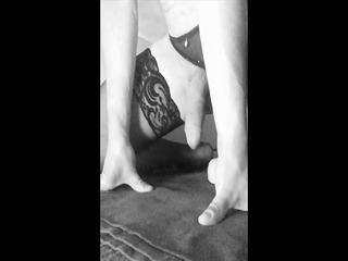 stroke with big dildo, black pantys nylons