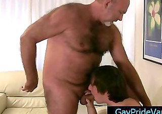 old homo bear getting his pecker sucked by twink