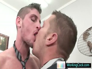 awesome studs engulfing and fucking at the office