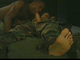 army homosexual guys engulf cock in interracial