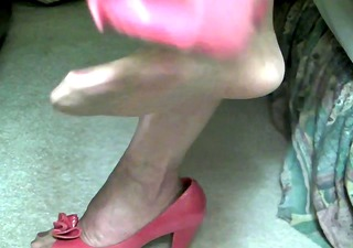 2 denier stockings, red peep toe pumps, and a