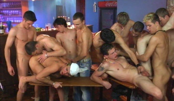 young twinks having sexy gay group sex on table