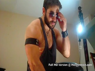 leather bearded hairy muscle stud with naughty